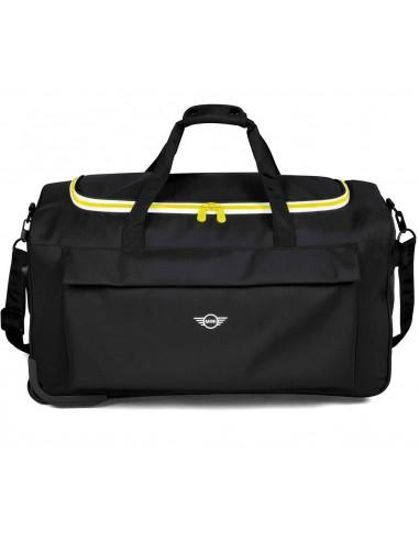 Valise à roulettes souple noire/jaune